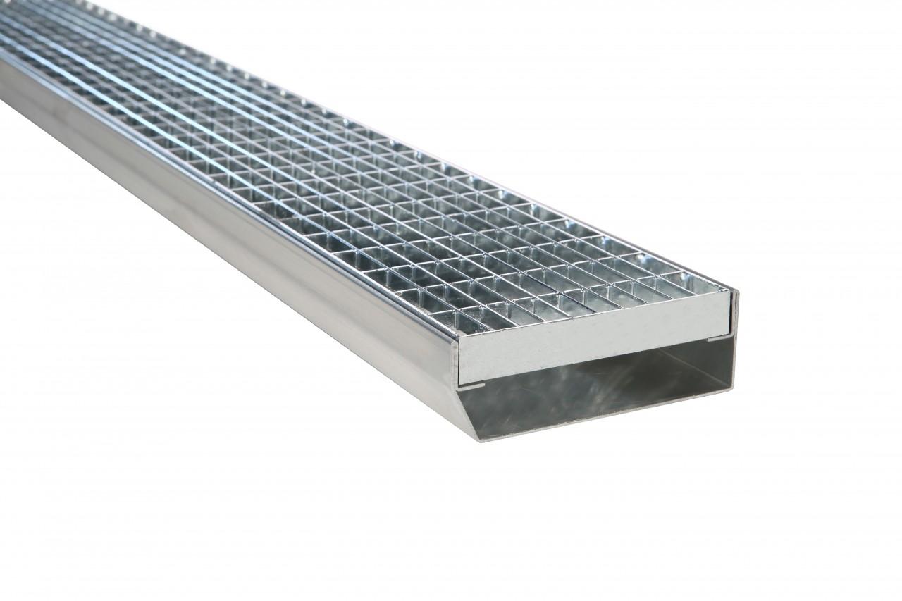 Fassadenrinnen mit Abdeckung Typ S3, Gitterrost MW 30/10 mm - geschlossen
