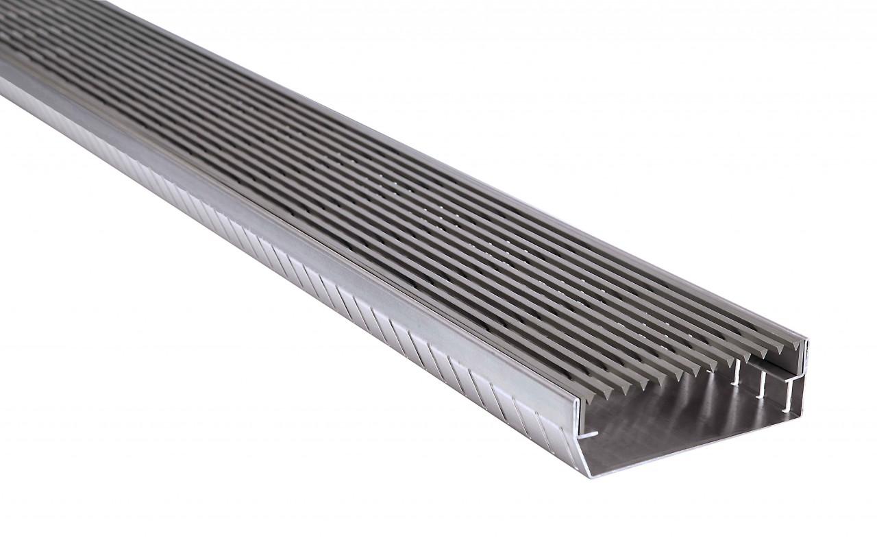 Eckstücke 90° mit Abdeckung Typ E7, Längsstabrost / Linear Rost - wasserdurchlässig