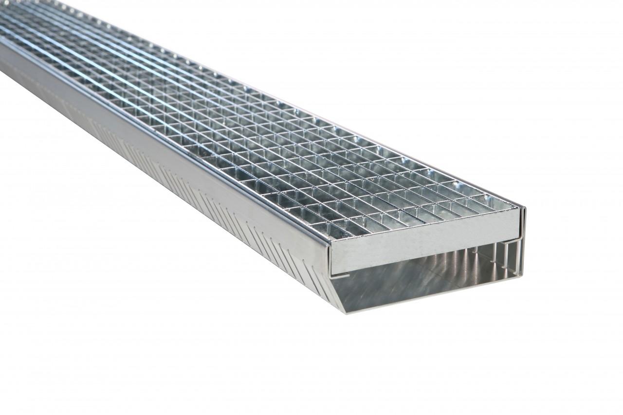 Fassadenrinnen mit Abdeckung Typ S3, Gitterrost MW 30/10 mm - wasserdurchlässig